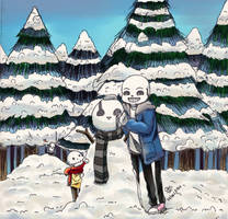 Little skeleton and their snowman by Cvanov
