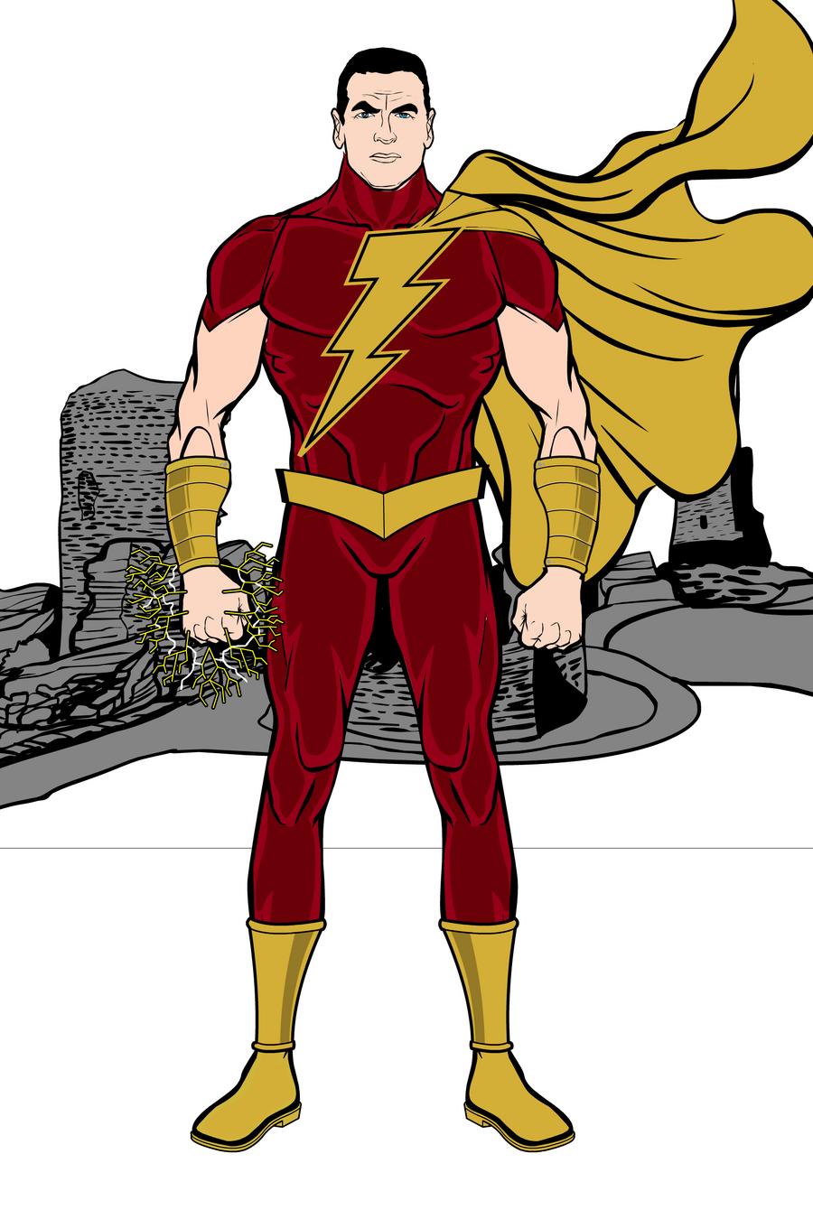 shazam captain marvel aka captain thunder by thetedness on