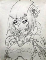 Captain Amy Llynn Elliot (LineArt WIP) by KevinTheCrushinator