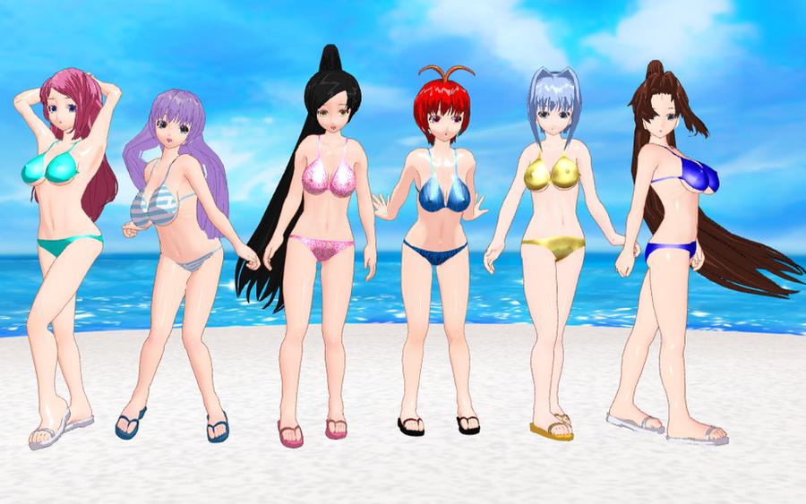 Koihime Musou girls bikinis by quamp
