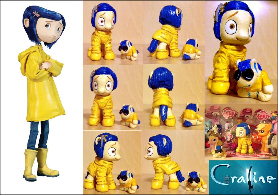 MLPFIM Coraline custom pony + doll by omgwtflols