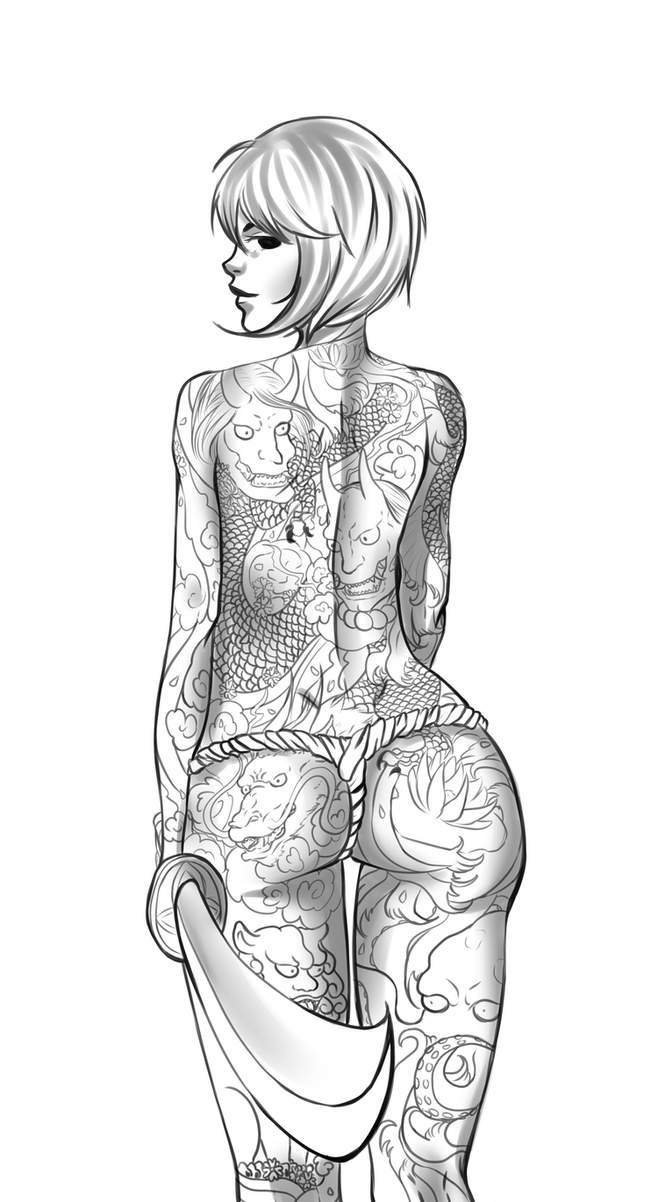 Sketch: Yakuza Girl by CrockCHOKO
