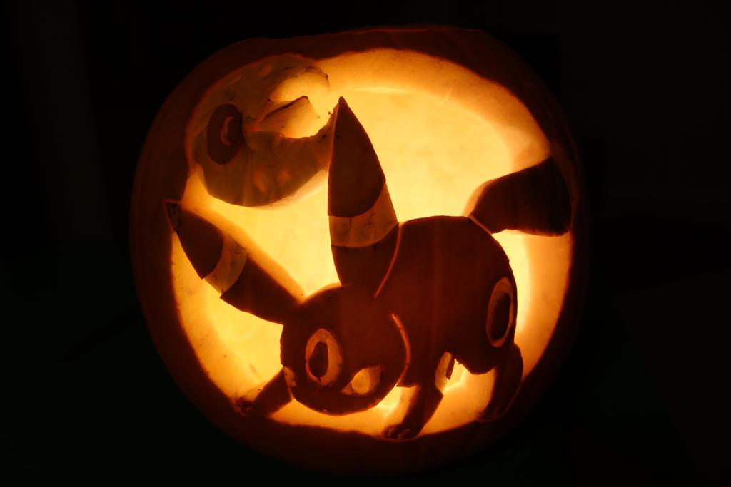 pokemon jack o lantern template - umbreon and lunatone jack o lantern by darkchocolateturtle