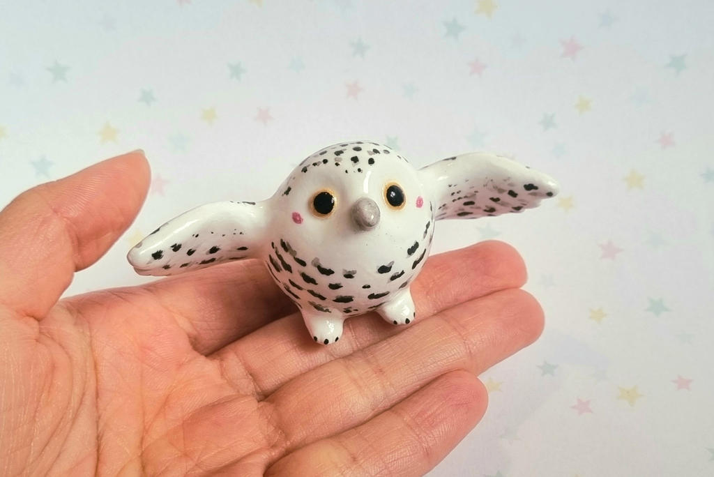 Snowy Owl Charm Handmade Animal Figurine