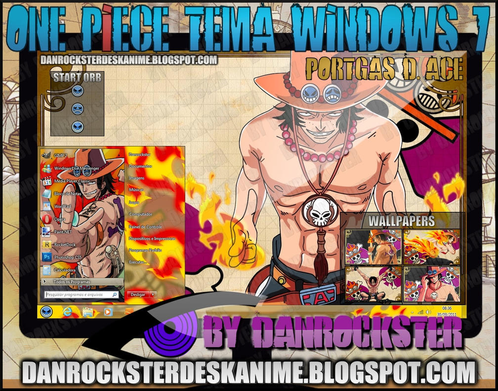 Portgas D. Ace Tema Windows 7 by Danrockster