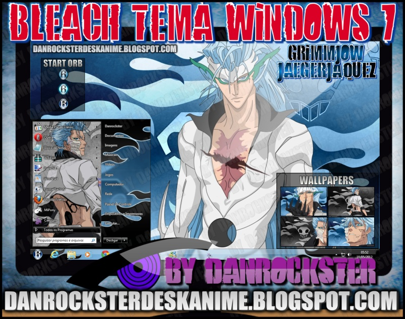 Grimmjow Jaegerjaquez Theme Windows 7 by Danrockster