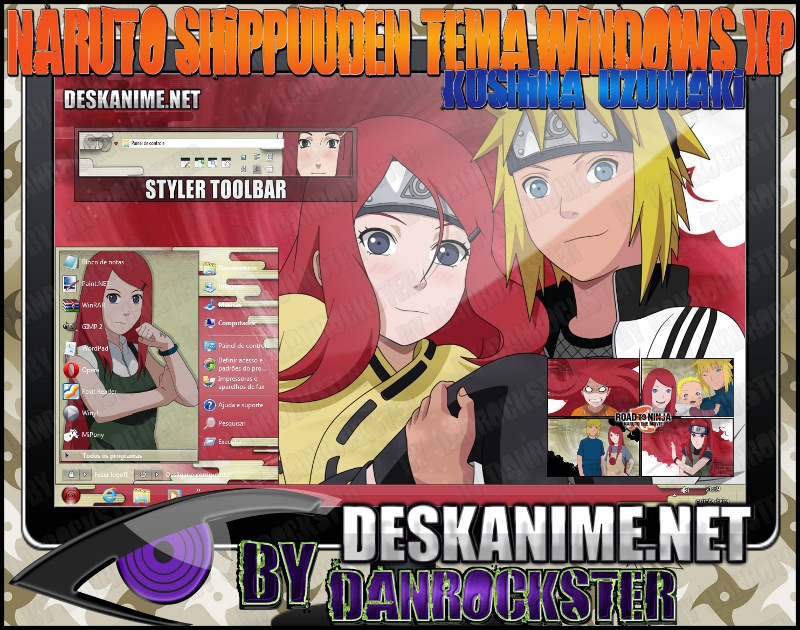 Kushina Uzumaki Theme Windows XP by Danrockster
