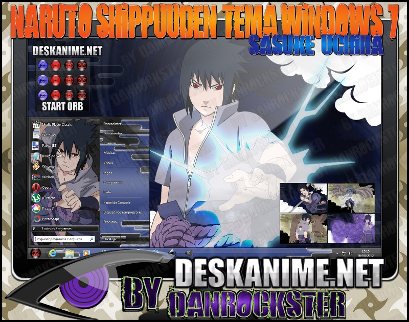 Sasuke Uchiha Theme Windows 7 by Danrockster