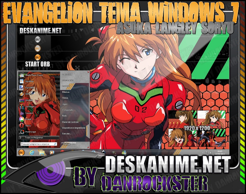 Asuka Langley Soryu Theme Windows 7 by Danrockster