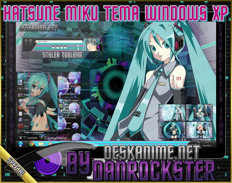 Hatsune Miku Theme Windows XP by Danrockster