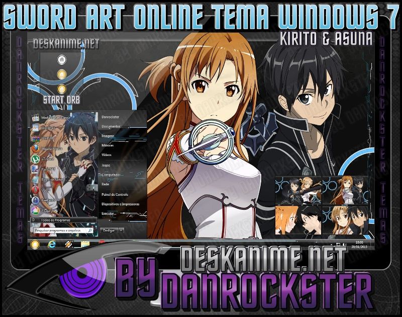 Kirito and Asuna Theme Windows 7 by Danrockster
