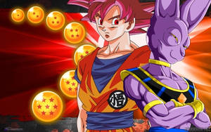 Goku SSJ GOD and Bills Wallpaper by Danrockster