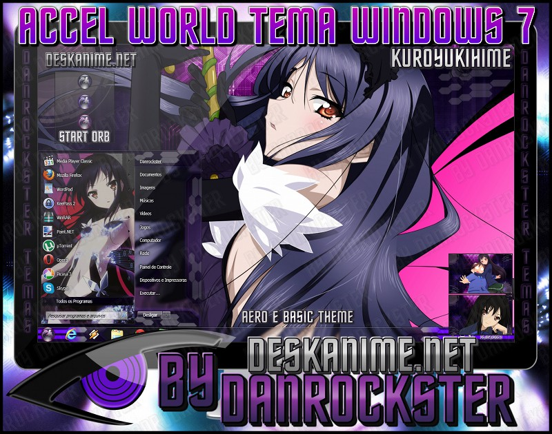 Kuroyukihime Theme Windows 7 by Danrockster
