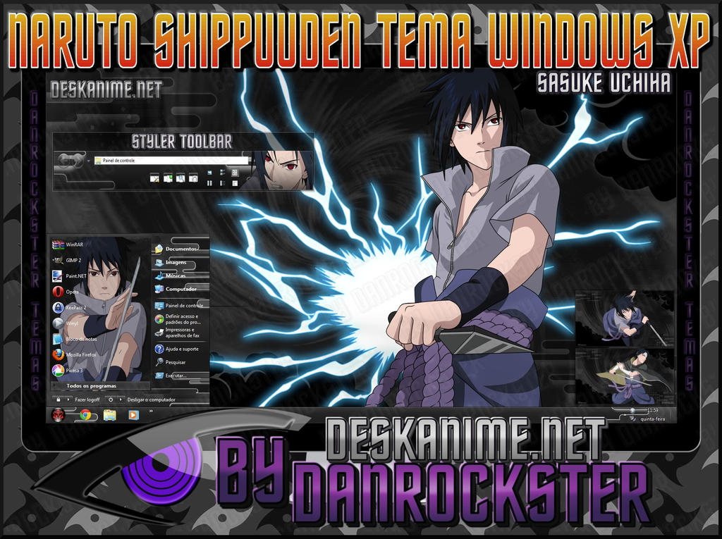 Sasuke Uchiha Theme Windows XP by Danrockster