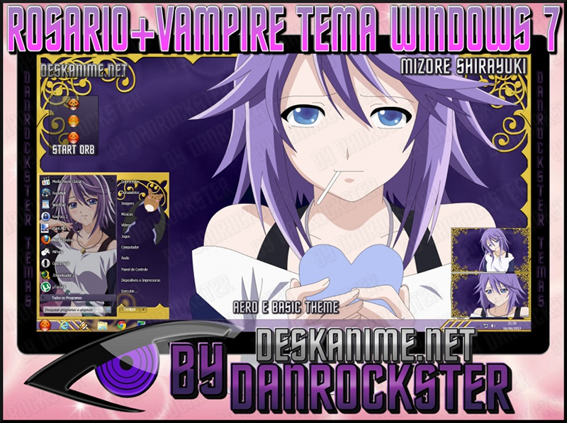 Mizore Shirayuki Theme Windows 7 by Danrockster