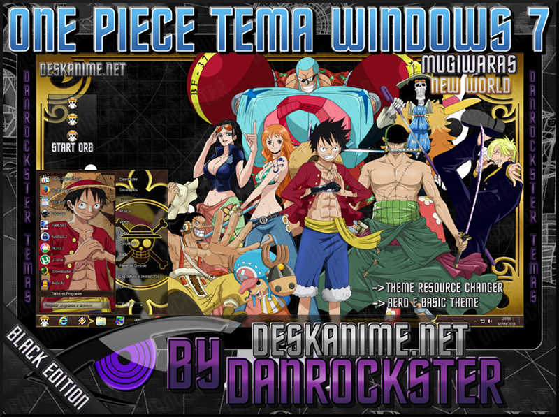 Mugiwaras Black Theme Windows 7 by Danrockster
