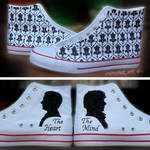 Heart And Mind - Sherlock Hand Painted Shoes by iremonez
