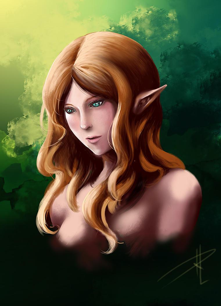 A portrait of an elf by Rachta