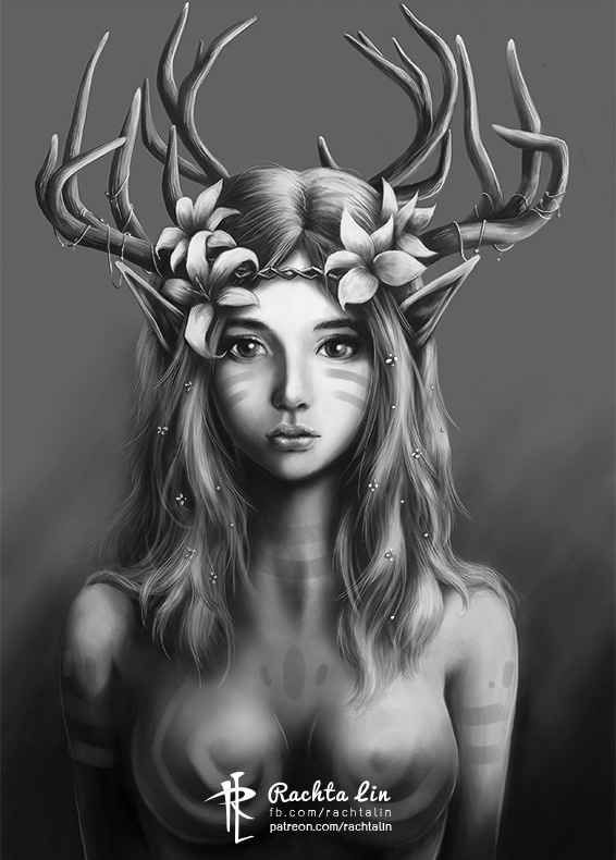 a portrait of a Doe Girl by Rachta
