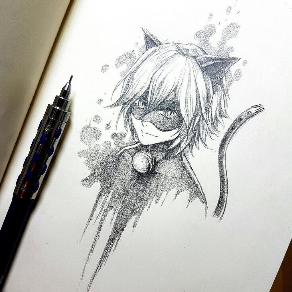 This is an image of Invaluable Chat Noir Drawing