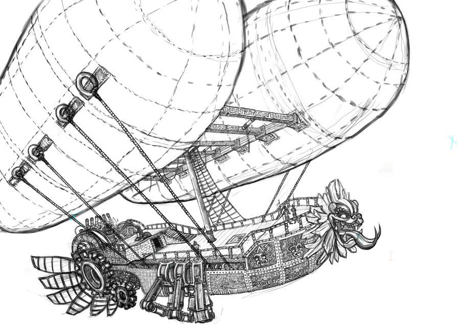 Steampunk Zeppelin Wallpaper Aztec Steampunk Zeppelin by