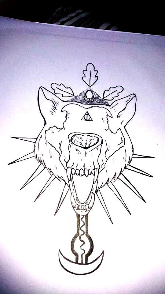 Art Line Work : Wolf skull tattoo line work by hard art rima on deviantart