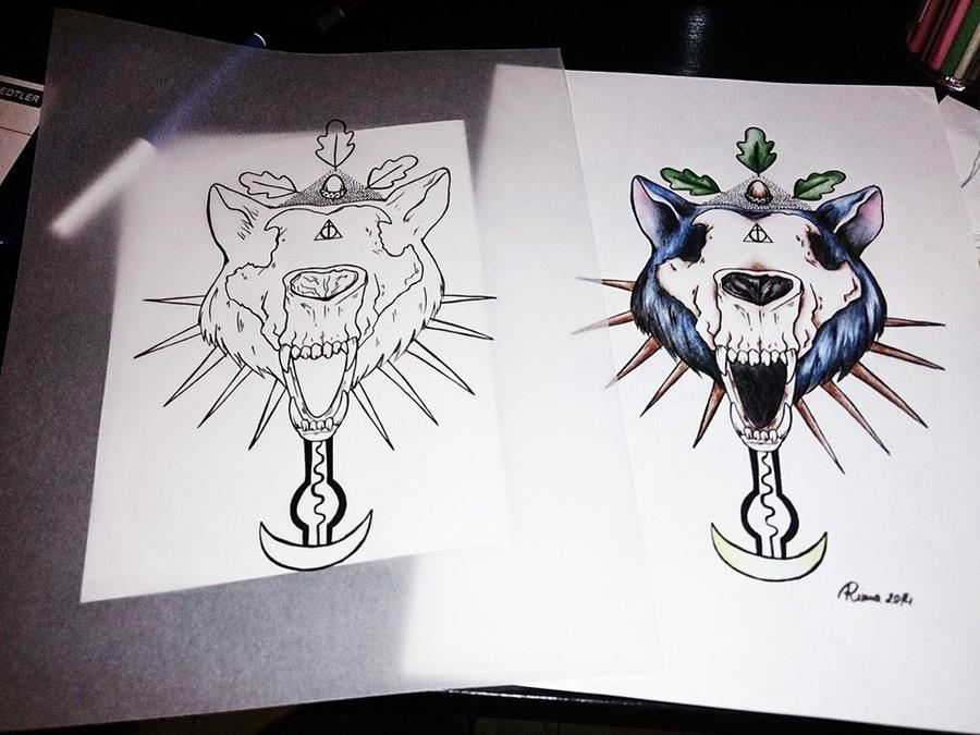wolf skull tattoo final design by hard art rima on deviantart. Black Bedroom Furniture Sets. Home Design Ideas
