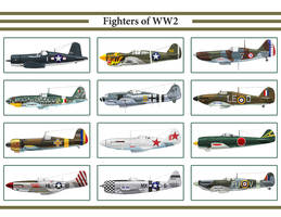 Fighters of WW2 Calendar by Claveworks
