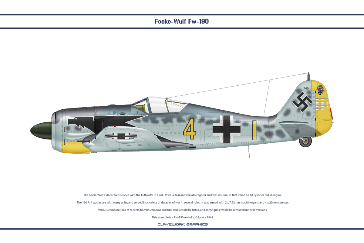 Fw190A4 JG2 3 by WS-Clave