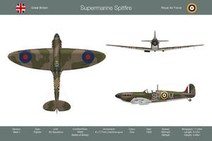 Spitfire GB 64 Sqn 3-View by WS-Clave