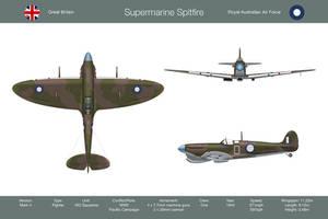 Spitfire Mk V Australia 3-View by WS-Clave