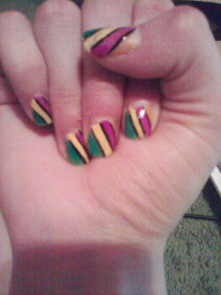 New Nail Polish Design With Black Lines By Freakydeakydawn On Deviantart