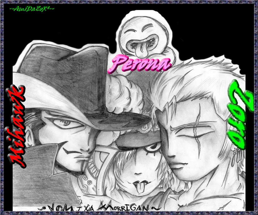 Zoro, Perona y Mihawk by Amidazoro