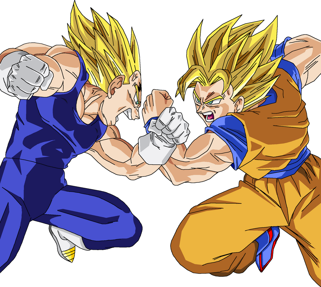 Son Goku Vs Majin Vegeta Render By Amidazoro