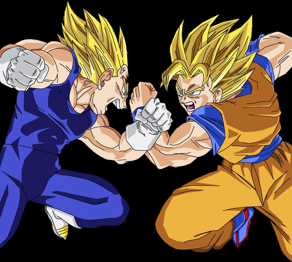 Goku+vs+Majin+Vegeta Son Goku vs Majin Vegeta Render by Amidazoro on ...