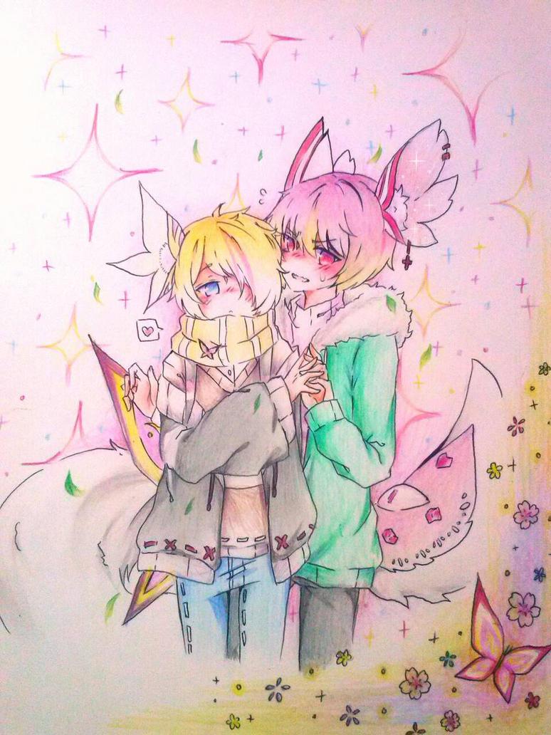 Shin and Haru [Art Trade] by Sweetmeloday
