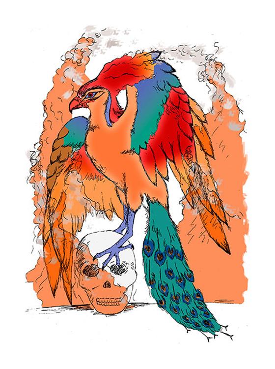 Fiery phoenix perched on skull by Bennett-Burks