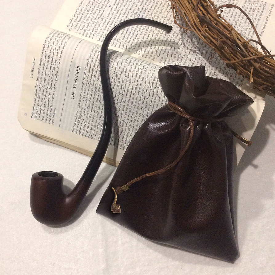 Strider Leather Pipe-weed Pouch (Dark Brown) by AsliBayrak
