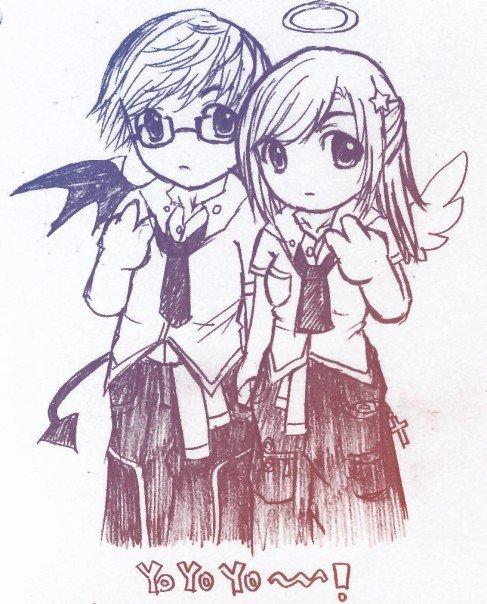 chibi - devil loves angel by chocolatesyrup on DeviantArt
