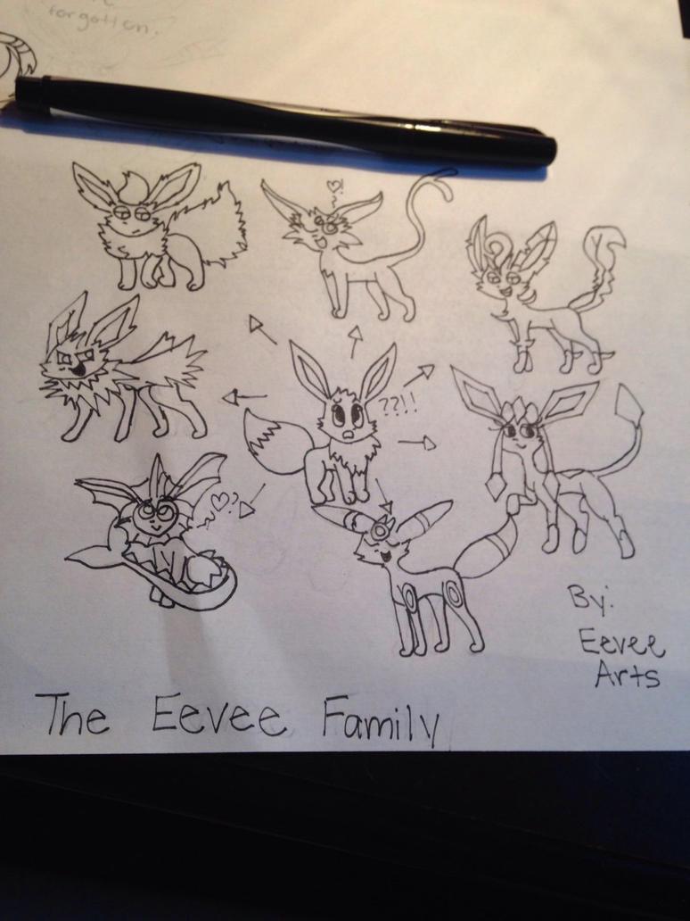Eevee Fam Uncolored  by EeveeArts