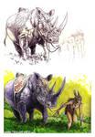 Rhino and woman