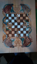 Dragon Woodburn and Painted Chessboard by mothepro