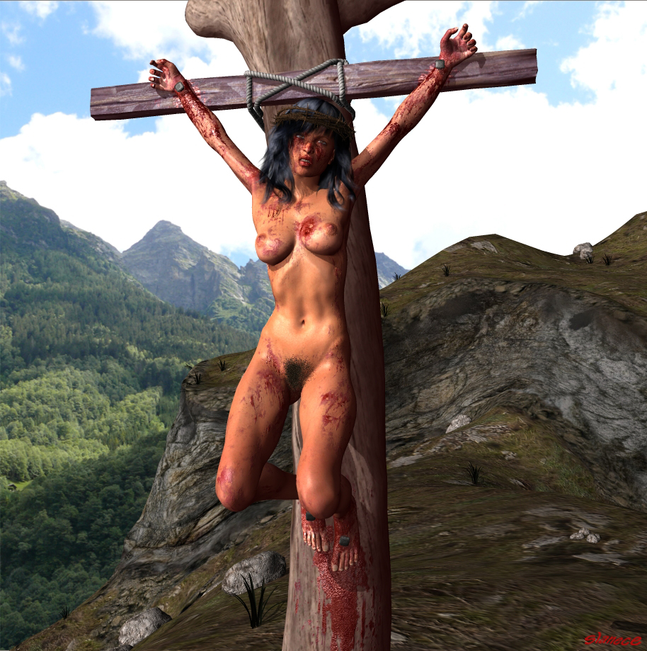 Jesus crucified naked was