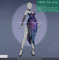(FREE TO USE) Galaxy Dress PNG + PSD file