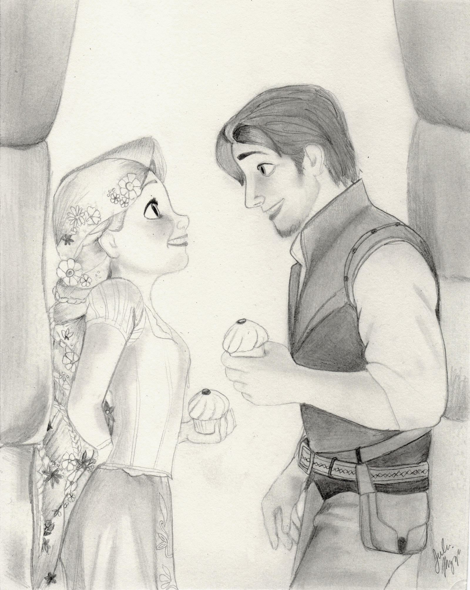 Rapunzel And Flynn Tangled Graphite Drawing By Julesrizz On Deviantart