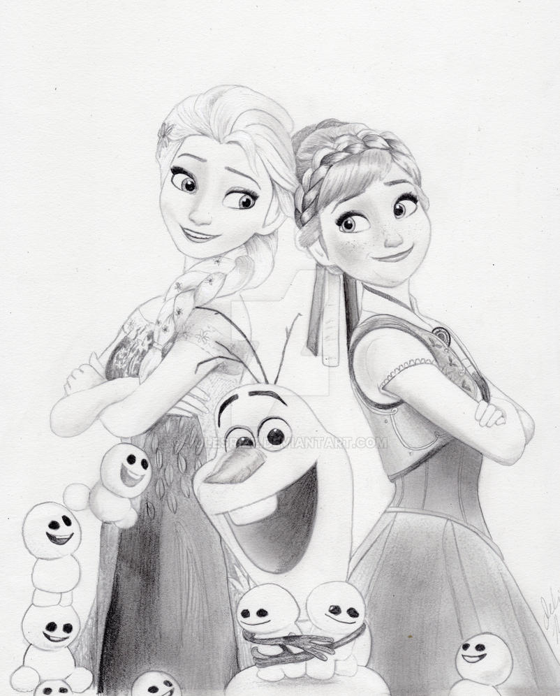 Frozen fever graphite drawing by julesrizz