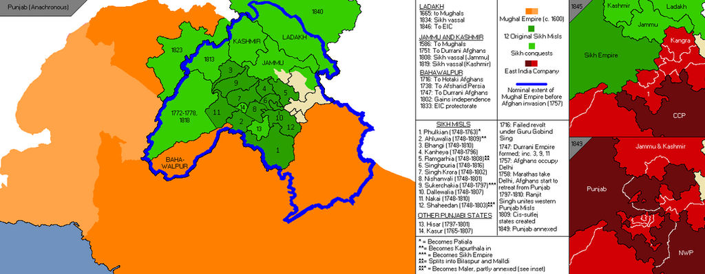 Image result for sikh empire map