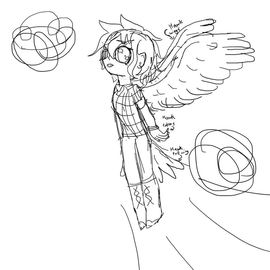 Half hawk girl sketch by KittyCake2004