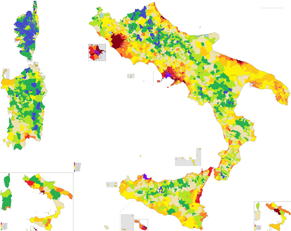 Map Of South Italy.Population Density In South Italy By R R Eco On Deviantart