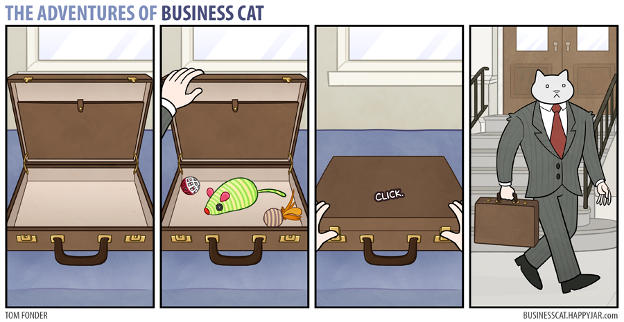 The Adventures of Business Cat - Briefcase by tomfonder